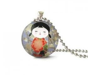 Japanese Doll Big Red Flower Kimono White Flowers Round Glass Pendant