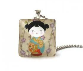 Japanese Girl Blue Kimono Purple Flowers Square Glass Pendant
