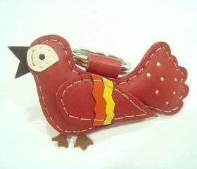 Happiness Bird leather keychain ( Red )
