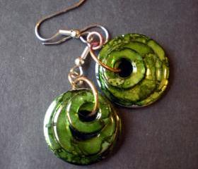 Green Earrings Monochrome