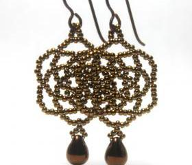 Mandala Bronze Beaded Earrings