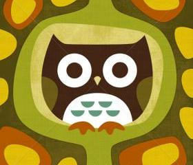1R Retro Sitting Owl 6x6 Print