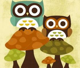 2R Retro Owls on Mushrooms 6x6 Print