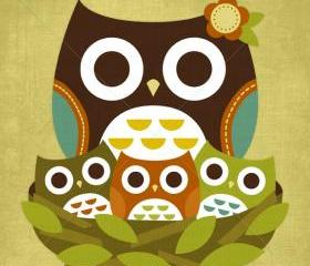 3R Retro Little Owls 6x6 Print