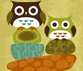 5R Retro Owls on Fun Rocks 6 x 6 Print