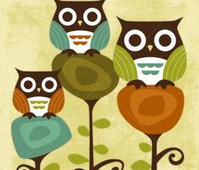 6R Retro Three Owl Friends 6x6 Print