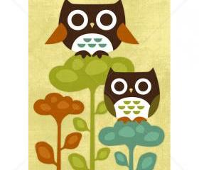 7R Retro Owls on Flowers 5x7 Print