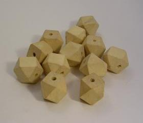 10 Light Wood Unpainted Faceted Cube Wooden Beads (WB52)