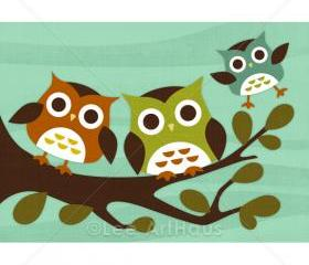 8R Retro Owls on Branch Print 5x7