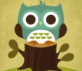 9R Retro Owl on Tree Trunk 6 x 6 Print