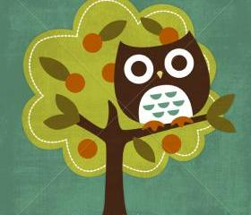 10R Retro Owl in Fruit Tree 6 x 6 Print