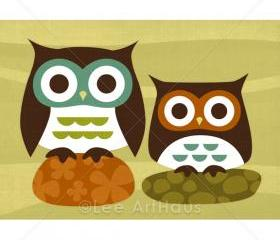11R Retro Two Owls on Rocks 5 x 7 Print