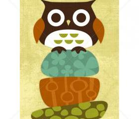 12R Retro Owl on Stacked Rocks 5 x 7 Print