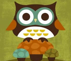 13R Retro Owl on Three Mushrooms 6 x 6 Print