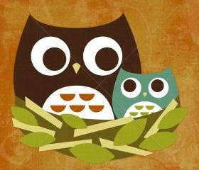 14R Retro Owl Family in Nest 6 x 6 Print