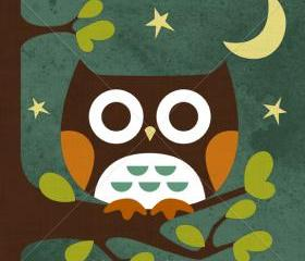 15R Retro Owl Sitting in Moonlight 6 x 6 Print