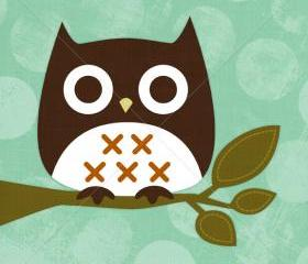 16R Retro Owl Sitting on Branch 6 x 6 Print