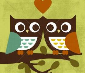 18R Retro Owl Love 6 x 6 Print