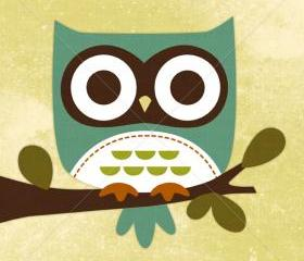 19R Retro Blue Owl on Branch 6 x 6 Print