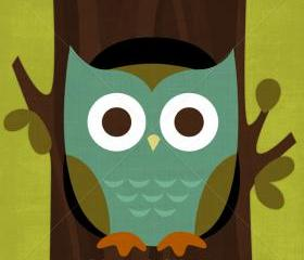 20R Retro Owl in Tree 6 x 6 Print