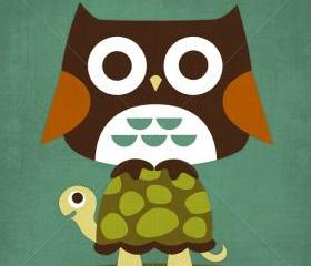 21R Retro Owl on Turtle 6 x 6 Print
