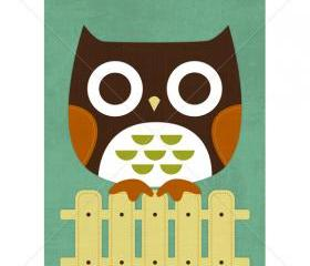 22R Retro Owl on Fence 5 x 7 Print