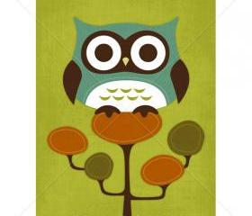 23R Retro Owl on Retro Tree 5 x 7 Print