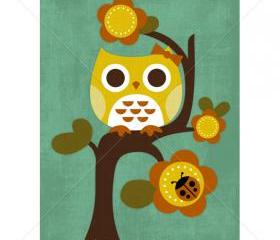 24R Retro Owl on Flower Tree 5 x 7 Print