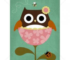 25R Retro Owl in Flower Print 5x7