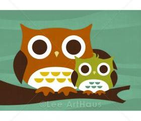 27R Retro Owl with Baby in Tree 5x7 Print