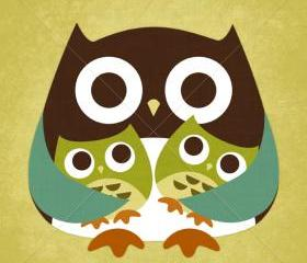 28R Retro Owl with Twins 6 x 6 Print