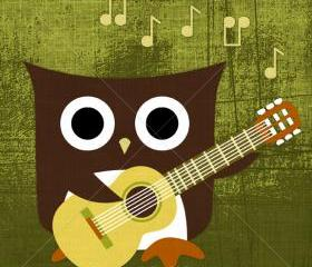 29R Retro Owl with Guitar 6x6 Print
