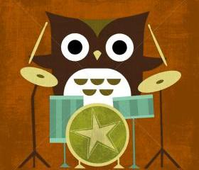 40R Retro Owl with Drums 6 x 6 Print