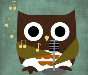 52R Retro Owl Singing 6 x 6 Print