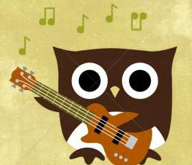 80R Retro Owl with Bass Guitar 6x6 Print