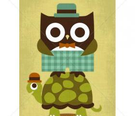 30R Retro Owl with Bowtie and Hat 5x7 Print