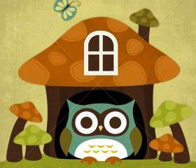 31R Retro Owl in Mushroom House 6x6 Print