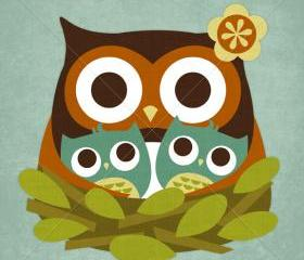 32R Retro Owl Twins Nest 6x6 Print