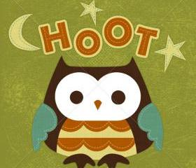 33R Retro Owl Hoot 6x6 Print