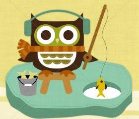 34R Retro Owl Ice Fishing 6x6 Print