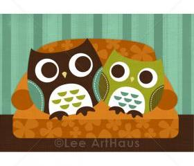 36R Retro Owls on Sofa 5x7 Print