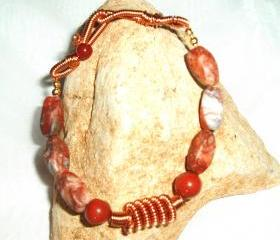 Jasper Beaded Bracelet Wire Coil handmade jewelry