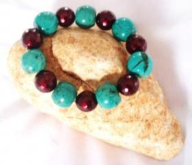 Turquoise / Shell Pearl Bracelet Stretchy Gemstone jewelry