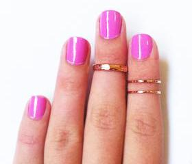 3 Above the Knuckle Rose Gold Rings - Z Rose Gold Combo set of 3 rings stackable midi rings