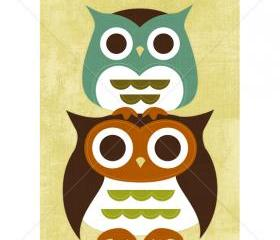 38R Retro Stacking Owls 5x7 Print