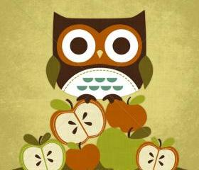 39R Retro Owl on Apples 6 x 6 Print