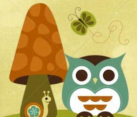 41R Retro Owl with Butterfly 6 x 6 Print