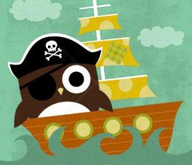43R Retro Pirate Owl 6 x 6 Print