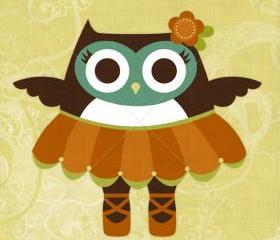 44R Retro Ballet Owl 6 x 6 Print
