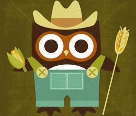 45R Retro Farmer Owl 6 x 6 Print